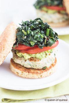 Cilantro-Quinoa Turkey Burgers via @alyssarimmer | #glutenfree #healthy | recipe on queenofquinoa.me
