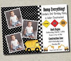 birthday parti, construction birthday, dump truck, birthday invitations, birthday idea, truck invit, construct birthday