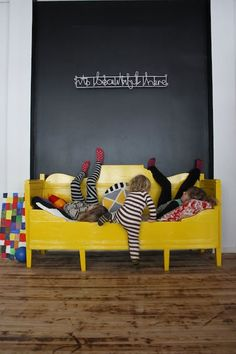 yellow kids bed