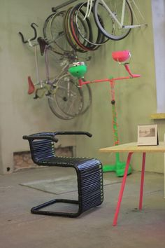 Chair made from bike inner tubes