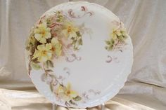 Porcelain Painting | Antique Limoges France Charger Plate 'Single-Petal Wild Yellow Roses ...