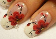 french manicures, flower nails, nail art designs, nail designs, nail art ideas, flower designs, red flowers, black nails, nail arts