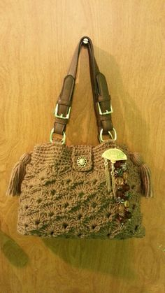 #Crochet Fan and V Stitch Handbag Purse with Liner #TUTORIAL