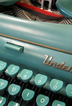 Vintage Typewriter.  Turquoise.