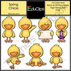 FREE Spring Chicks Clip Art Bundle from Educlips on TeachersNotebook.com -  (14 pages)  - FREE Spring Chicks Clip Art Bundle