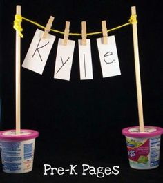 Easy DIY literacy activity to promote letter recognition and fine motor skills via www.pre-kpages.com