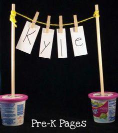 clothesline name activity and fine motor practice #preschool #kindergarten