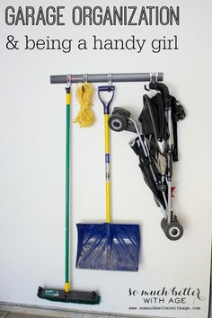 Install a simple system to help get things off the floor in the garage. Garage Organization and Being a Handy Girl via So Much Better With Age