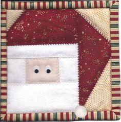 "free foundation (paper) piece Santa pattern -- 6"" block -- potholder or mug rug??"
