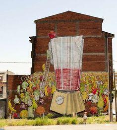 Vegetable Street Murals by Blu -Ordes, Spain