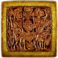 "Enamel platter / wall-plaque by Studio Del Campo. Copper, with figurative highlights in brilliant ""grisaile d'oro"" enamel"