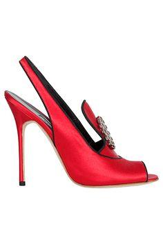Manolo Blahnik Shoes - red slingback open-toe pump 2013 Spring-Summer