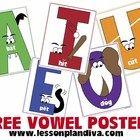 free sampl, idea, literaci, vowel poster, shorts