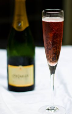 Typical French Kir Royale (Champagne and Crème de Cassis)