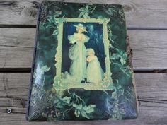 Antique Victorian Celluloid Photo Album Woman w Child