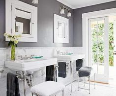 #Gray #bathroom with beautiful freestanding consoles