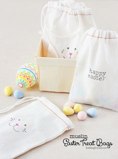 Super fun and easy Muslin Easter Treat Bags with livelaughrowe.com