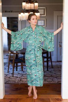 Flamingo Silk Kimono by Emerson Fry
