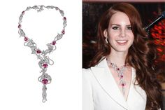 Chopard. Rats necklace from the Red Carpet collection, adorned with heart shaped tourmalines, fully paved with grey and pink diamonds, set in white gold worn by Lana Del Ray at Cannes Film Festival.