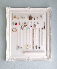 jewelry storage, diy jewelry holder, jewelry displays, a frame, diy jewelri, jewellery storage, picture frames, jewelry organization, storage ideas