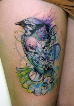 graffiti style bird tattoo--- love the line quality and colors :)