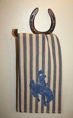 bronc wyoming kitchen towel decor on Etsy, $12.00