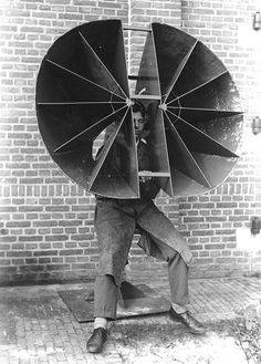 Acoustic listening devices developed for the Dutch army as part of air defense   systems research between World Wars 1 and 2.