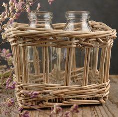 2 Glass Milk Bottles in Wicker Basket  $5.99 set/ 3 for $5 set
