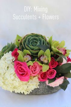 DIY: Succulent Floral Arrangement succul floral, flower arrang, color, franki heart, beauti, fresh flowers, diy, heart fashion, succulent floral arrangements