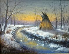 Winter TeePee by Joseph Yarnell Acrylic ~ 11 x 14