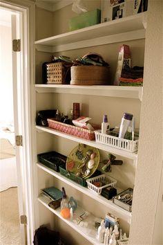 small space storage ideas - skinny shelves / shelving