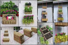 craft supply storage, hang basket, diy tutorial, craft idea, herbs garden, garden idea, hanging planters, hanging baskets, hanging gardens