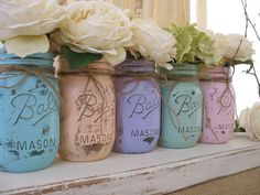 Mason Jars, Ball jars, Painted Mason Jars, Flower Vases, Rustic Wedding Centerpieces, Pastels Mint, Coral, Blue, Pink, Purple {TheShabbyChicWedding, Etsy shop}