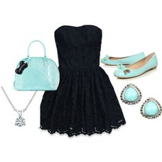 black and baby blue, created by macee-alexandra-payne on Polyvore