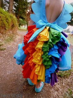 rainbow dash dress tutorial and free pattern (by sew chibi for me sew crazy) my daughter would go ape over this. and @Jess Pearl Liu Sutton Ecker imagine in a solid