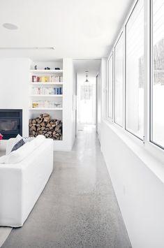 Polished Concrete floor.  Blue Hills House by la SHED architecture