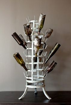 Vintage bottle drying rack...OR kind of looks like a Christmas Tree. A holiday tree that encourages you to drink more!