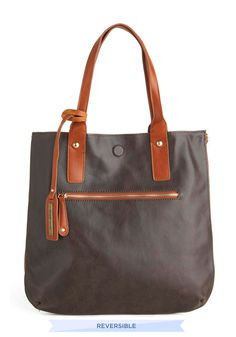 Role Reversal Bag in Mocha and Teal - Brown, Solid, Faux Leather, Blue, Work
