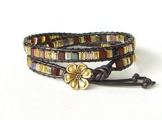 Dark chocolate brown leather double wrap by MirasBeadBoutique, £12.00
