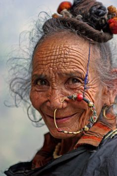 India, Portrait of a Himalayan woman, woman, female, beautiful, funny hat, ornaments, rinkles, a face that have lived, photo.