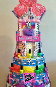 Rainbow Loom Birthday Party! Rainbow Loom Party Favors Candy Cake