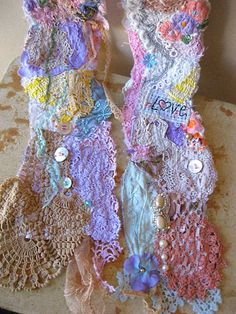 Meadow Scarf - free machine lace, doilies and pretty little pieces of fabric together
