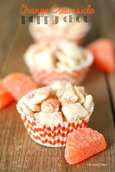 Orange Creamsicle Puppy Chow ~ This Orange Creamsicle Puppy Chow is sweet and crunchy with a touch of citrus. It is a delicious summer dessert idea.