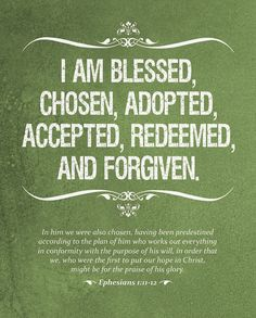 Thank you Jesus, for loving me, forgiving me, giving me life everlasting! I am truly blessed to be Your daughter!