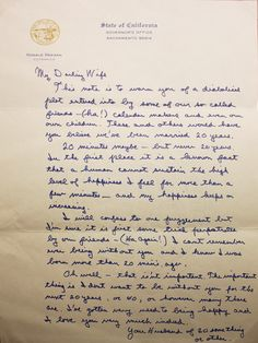 In 1952, Ronald Reagan and Nancy Davis married. In 1972, prior to their 20th anniversary, Reagan - then Governor of California - wrote the following letter to his wife. Click to read the transcript.