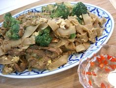 Authentic Thai recipe for Thai Stir-Fried Wide Rice Noodles, 'Pad Si-iew' from ImportFood.com.