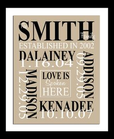 Personalized - FAMILY NAME and Birth Dates Print - LOVE is Spoken Here - Custom Colour. $14.00, via Etsy.