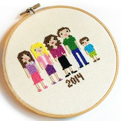Cross Stitch Family Portrait #sewing #embroidery #crossstitch