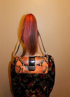 orange snakeskin purse / python baguette / leather by GaudyGod, $35.00