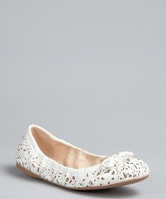 Prada : Prada Sport white floral laser cut patent leather bow flats